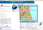 Arbeitsumgebung des Regionalen Portfoliomanagers – Online GIS der Wohnregion Bonn (Copyright: Quelle: www.wohnregion-bonn.de)